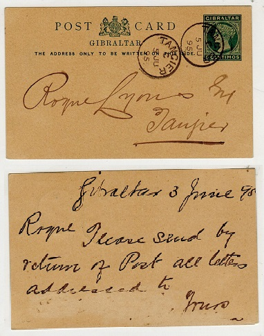 MOROCCO AGENCIES - 1889 5c green PSC of Gibraltar (H&G 6) cancelled TANGIER on arrival.