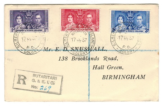 GILBERT AND ELLICE IS - 1937 registered cover to UK bearing