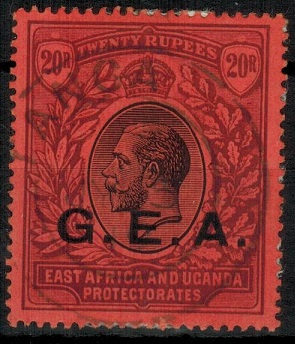TANGANYIKA - 1917 20r black and purple on red overprinted