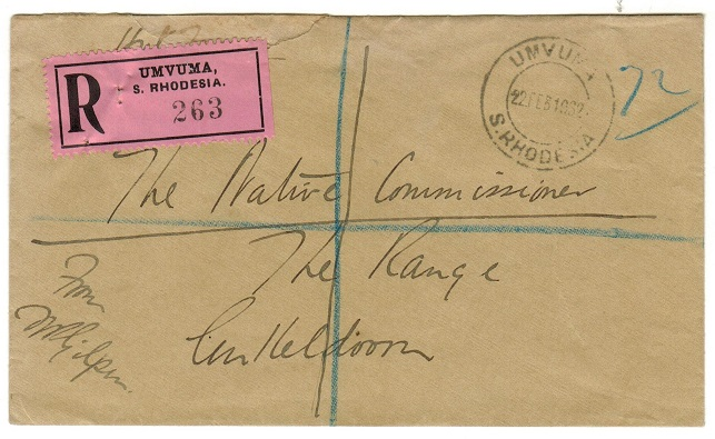 SOUTHERN RHODESIA - 1932 local unstamped registered cover used at UMVUMA.