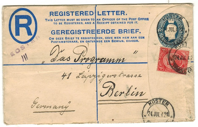 SOUTH AFRICA - 1922 6d blue RPSE to Germany uprated at KOSTER.  H&G 5a.