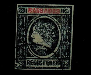 BARBADOS - 1900 (circa) blue IMPERFORATE FORGERY headed