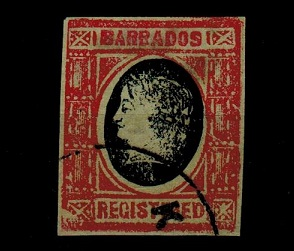 BARBADOS - 1900 (circa) red and dark blue IMPERFORATE FORGERY headed