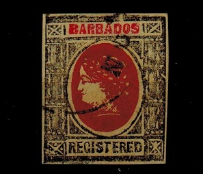 BARBADOS - 1900 (circa) grey and red IMPERFORATE FORGERY headed
