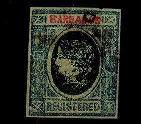 BARBADOS - 1900 (circa) grey and green IMPERFORATE FORGERY headed