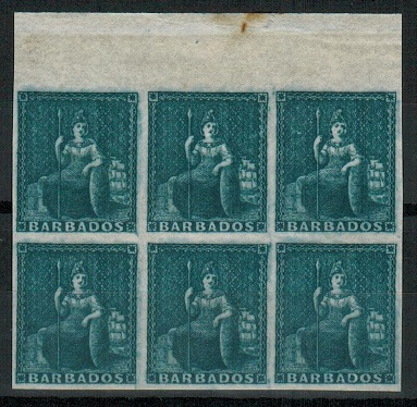 BARBADOS - 1852 (1d) no value expressed slate blue top marginal mint block of six.  SG 5a.