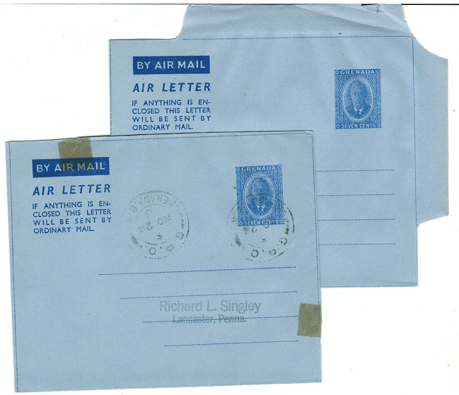 GRENADA - 1953 7c ultramarine postal stationery air letters mint and cto.  H&G 4.