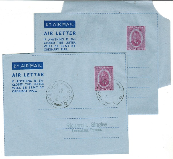 GRENADA - 1953 12c red-violet postal stationery air letters mint and cto.  H&G 3.