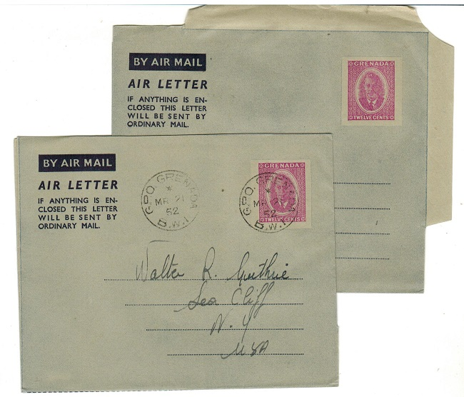 GRENADA - 1952 12c red-violet postal stationery air letters mint  and cto.  H&G 2.
