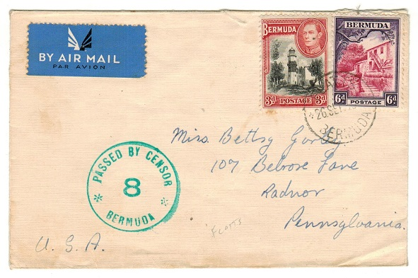 BERMUDA - 1943 9d rate cover to USA used at FLATTS with PASSED BY CENSOR /8/BERMUDA h/s applied.