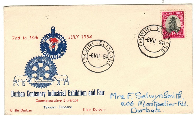 SOUTRH AFRICA - 1954 1d rate (Exhibition) TEKWINI ELINCANE local cover.