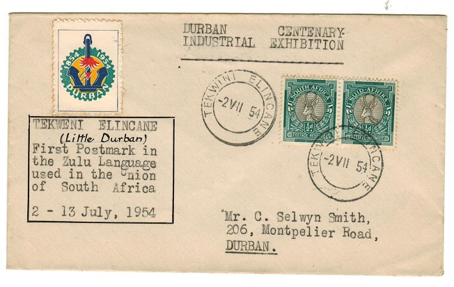 SOUTH AFRICA - 1954 1d rate (Exhibition) TEKWINI ELICANE local cover with label.