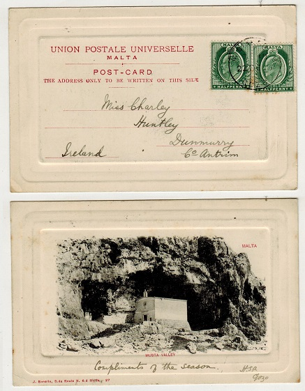 MALTA - 1908 1d rate postcard use to Ireland used at MIGIARRO B.O./GOZO.