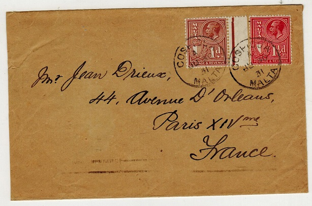 MALTA - 1931 2 1/2d rate cover to France used at COSPICUA.