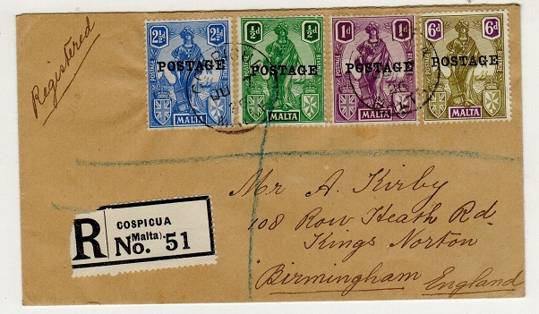 MALTA - 1936 multi franked registered cover to UK used at COSPICUA.