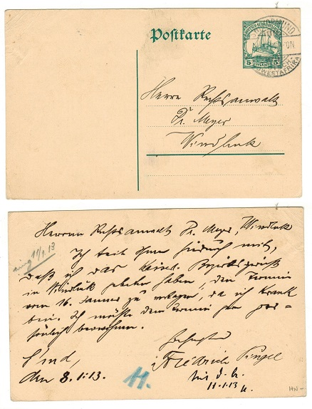 SOUTH WEST AFRICA (German) - 1912 5pfg green PSC used locally from SWAKOPMUND.  H&G 19.