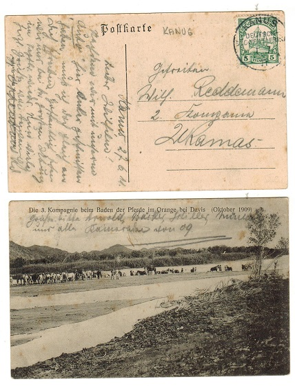 SOUTH WEST AFRICA (German) - 1911 5pfg rate postcard use locally used at KANUS.
