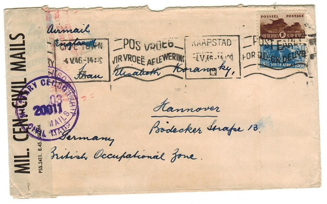SOUTH AFRICA - 1946 cover to Germany with