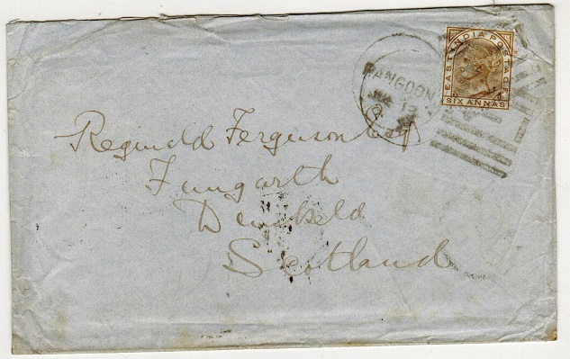 BURMA - 1877 6a rate cover to UK cancelled by