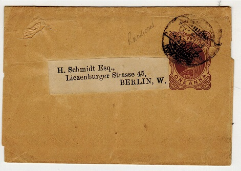 BURMA - 1895 1a brown postal stationery wrapper of India to Germany used at RANGOON.  H&G 2.
