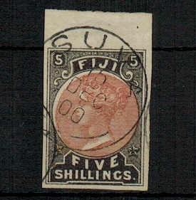 FIJI - 1882 5/- dull red and black IMPERFORATE remainder cto