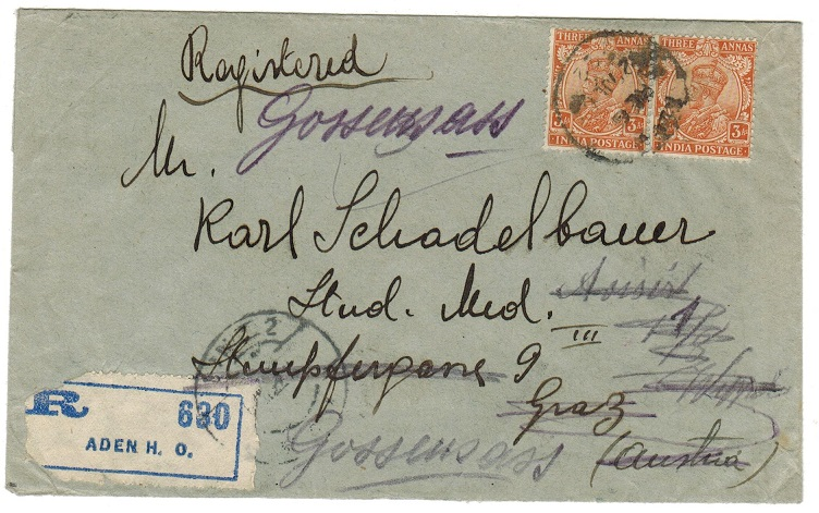 ADEN - 1922 6a rate registered cover to Austria.