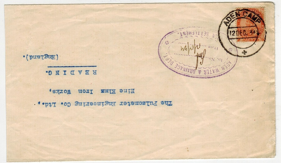 ADEN - 1936 2a6p rate cover to UK used at ADEN CAMP.