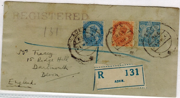 ADEN - 1935 registered cover to UK used at ADEN.