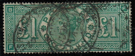 GREAT BRITAIN - 1891 £1 green used.  SG 212.