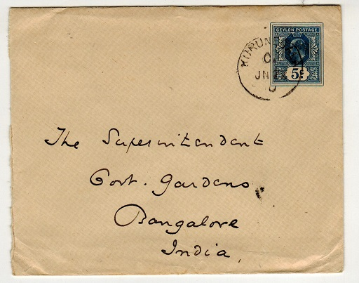CEYLON - 1909 5c blue PSE to India used at KURUNEGALA.  H&G 37a.