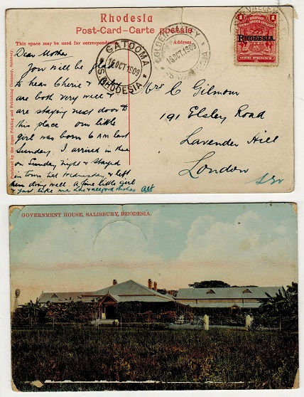 RHODESIA - 1909 1d rate postcard to UK used at GOLDEN VALLEY.