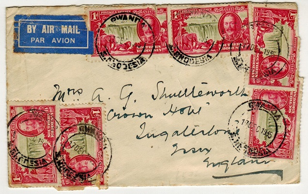SOUTHERN RHODESIA - 1935 6d rate cover to UK used at GWANDA.