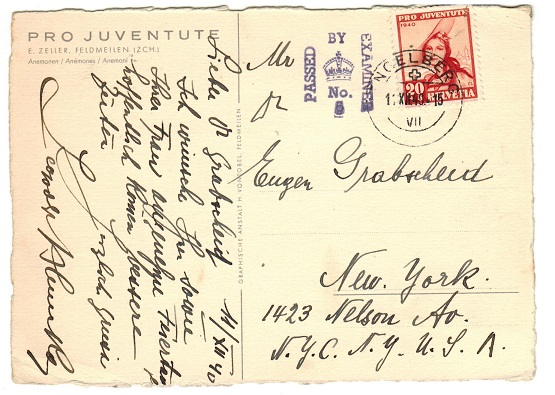 GIBRALTAR - 1940 transit cover from Switzerland to USA with PASSED/BY/EXAMINER/No.5 h/s.