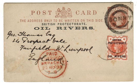 NIGER COAST - 1892 1/2d brown PSC uprated to UK cancelled by BONNY parcel cancel. H&G 1.