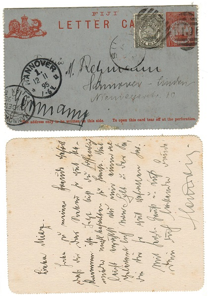 FIJI - 1895 1 1/2d red on grey postal stationery letter card uprated to Germany.  H&G 1.