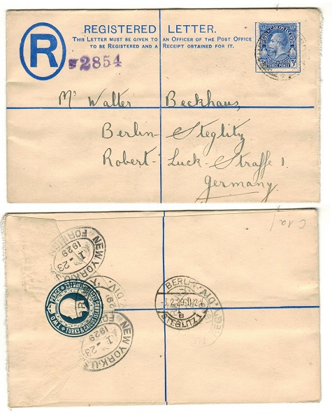 TURKS AND CAICOS ISLANDS - 1920 2d dark blue uprated RPSE to Germany.  H&G 1a.