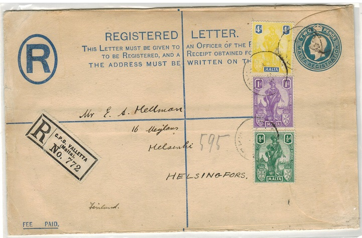 MALTA - 1913 2d blue uprated RPSE to Finland. H&G 5a.