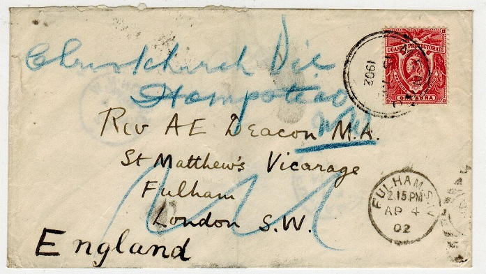 UGANDA - 1902 1a rate cover to UK used at MENGO.