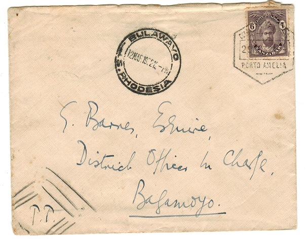 ZANZIBAR - 1932 cover to Southern Rhodesia with 6c adhesive tied PORT AMELIA in Mozambique. Unusual.