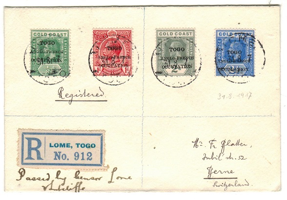 TOGO - 1917 registered cover to Switzerland with manuscript