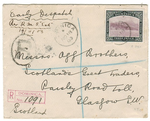 DOMINICA - 1903 3d rate registered cover to UK.