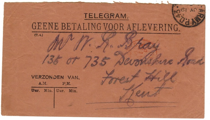 ORANGE RIVER COLONY - 1901 TELEGRAM envelope to UK used at ARMY P.O.43.