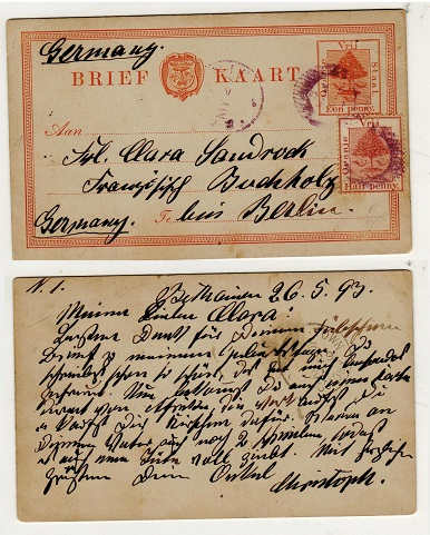 ORANGE FREE STATE - 1884 1d orange PSC uprated to Germany used from BETHANIE.  H&G 1.