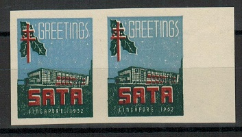 SINGAPORE - 1952 SATA-TB greetings label IMPERFORATE PLATE PROOF pair.