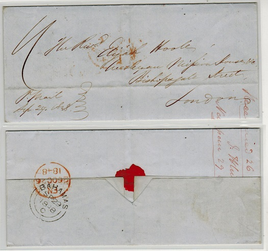 BAHAMAS - 1848 outer wrapper to UK struck by BAHAMAS cancel on reverse.