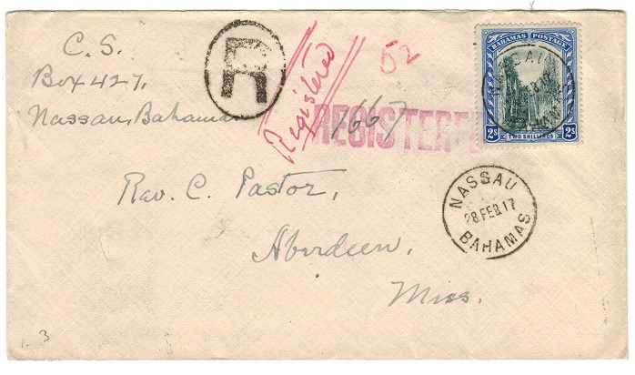 BAHAMAS - 1917 2/- rate registered cover to USA used at NASSAU.