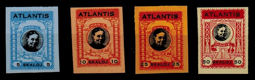 BAHAMAS - 1938 5,10,25+50sk ATLANTIS cinderella stamps IMPERFORATE.