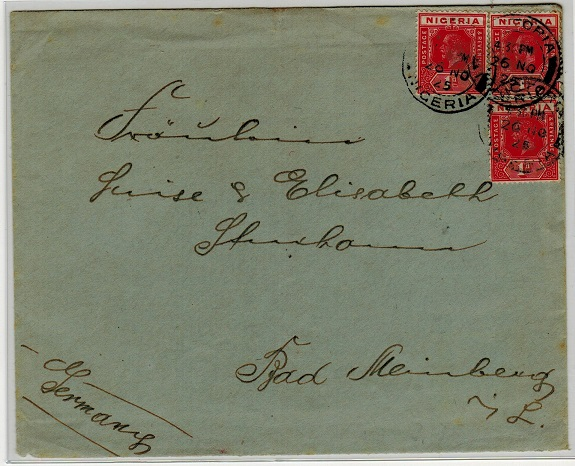 CAMEROONS - 1925 (NO.26.) cover addressed to Germany used at VICTORIA/NIGERIA.