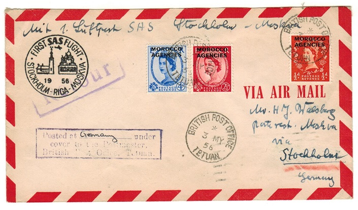 MOROCCO AGENCIES - 1956 cover taken on the