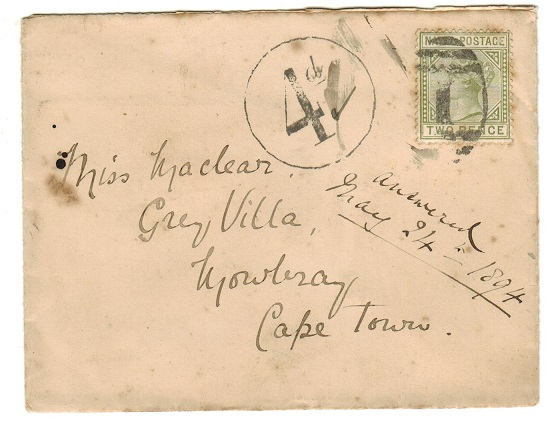 NATAL - 1894 underpaid cover to Cape Town with
